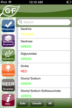 The application displaying safety levels of various ingredients.