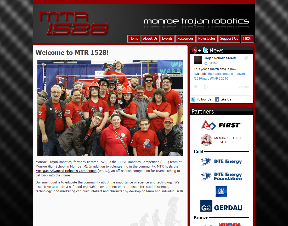 The home page of the website.