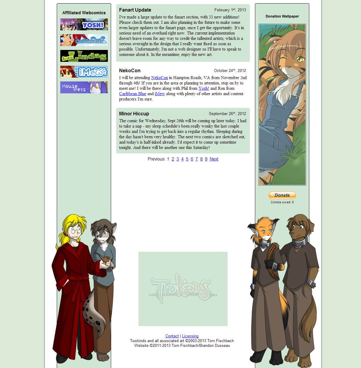 The website after a 2010 redesign, bottom half.