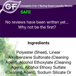 The application displaying the safety level and ingredients of a food item.