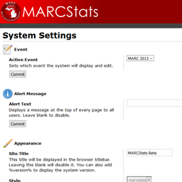 The system setup page, on which system-wide options can be specified.