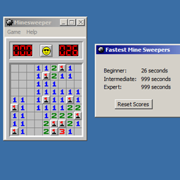An completed beginner-level game, with the leaderboard window open.