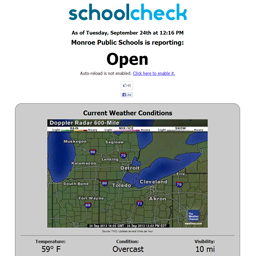 The web page displaying the school status and weather data.